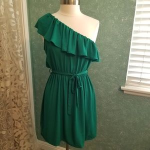 Charming Charlie One-Shoulder Ruffle Dress~sz L
